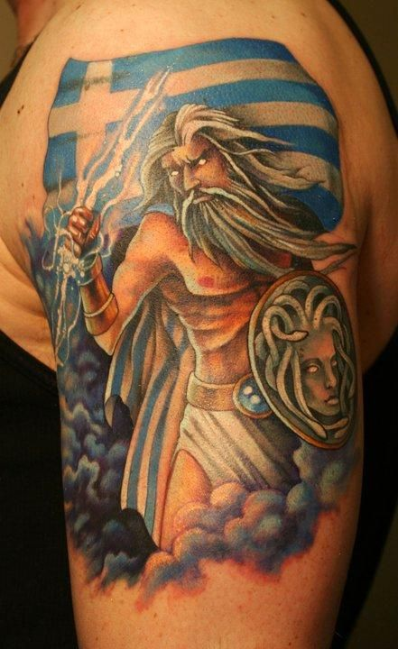 27 best greek warrior tattoos images on pinterest for Zeus tattoo designs