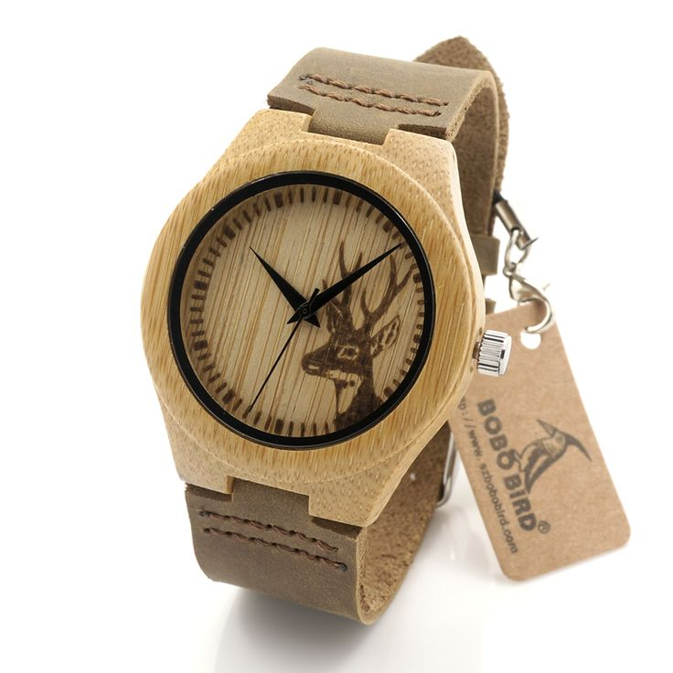 2016 Deer Head Design Mens Women's Size Bamboo Wooden Watches Luxury Wooden Quartz Watches With Brown Leather Strap Like it?  #shop #beauty #Woman's fashion #Products #Watch