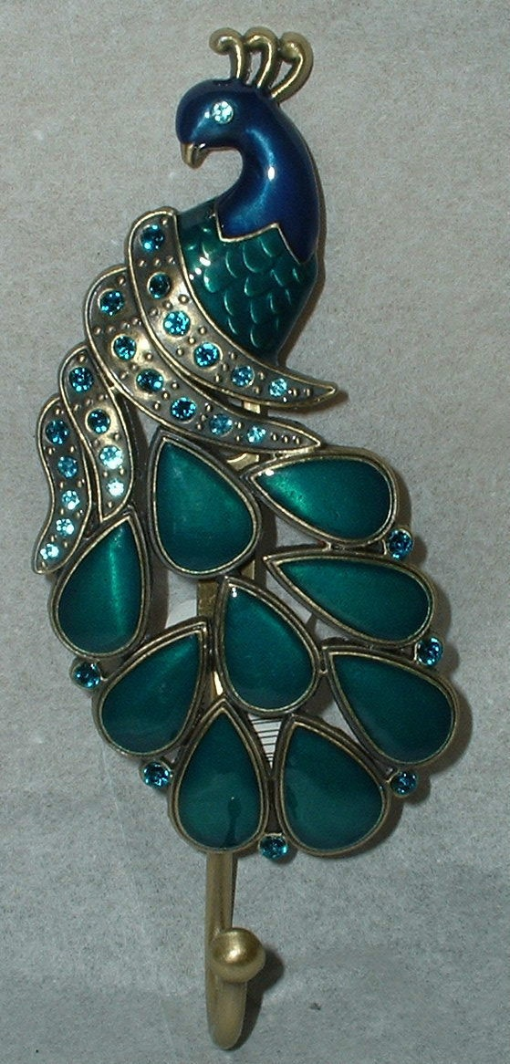 Peacock wall art plaque~metal hook~hanger~jeweled decor ~bird~feathers~turquoise