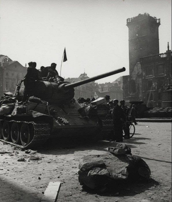 8.5.1945 Liberation of Prague. Russian soldiers in Old Town Square.