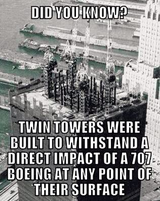Most people never knew this about the towers.  The planes that hit the towers were very similar to a Boeing 707.