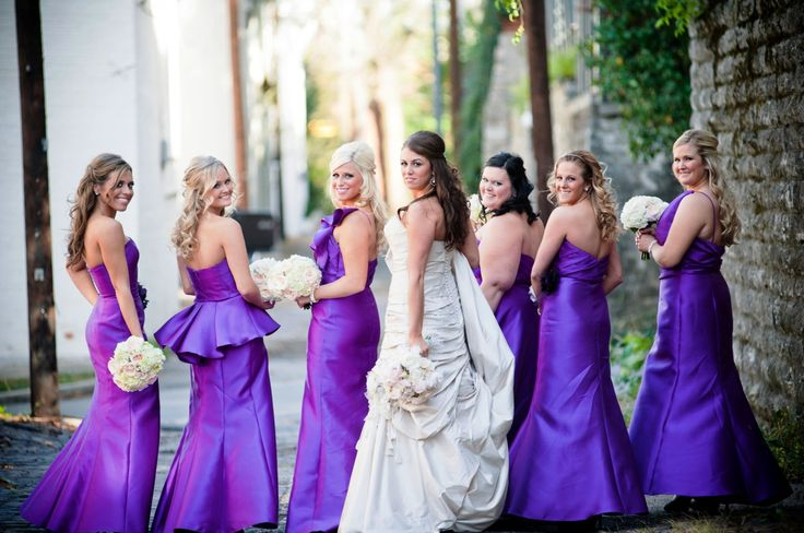 Violet and white dresses for bridemaids
