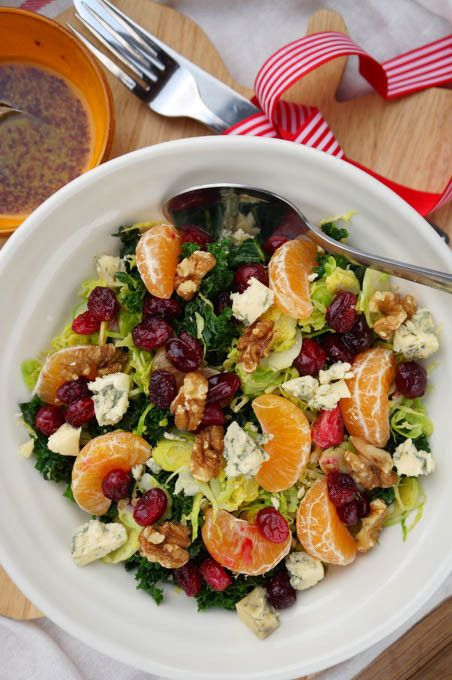 Raw sprout, clementine, cranberry, Stilton & walnut winter salad. A great way to use up your Christmas flavours!