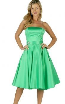 Green A-Line/Princess Strapless Empire Knee-length Sleeveless Satin Zipper Up Prom Dresses Dress