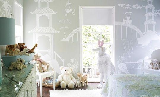 ethereal white chinoiserie wallpaper: Child Room, Nurseries, Little Girls Room, Wall Murals, Kids Room, Kidsroom, Baby Room, Gray Wall, Girl Rooms