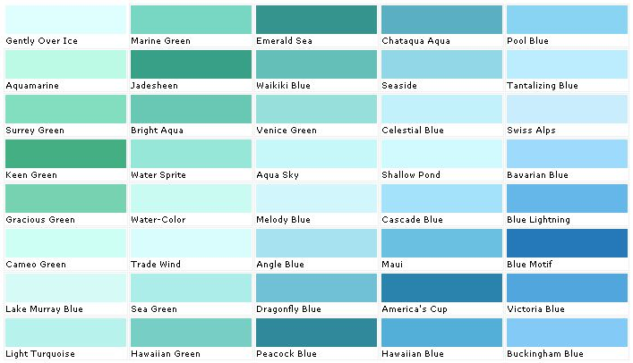 Aquamarine color chip sample swatch palette for Color charts for painting walls