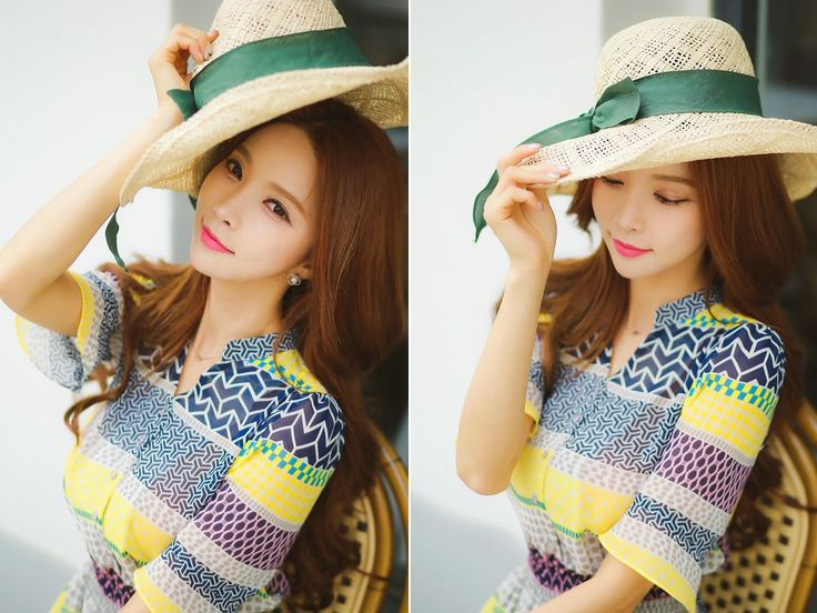 StyleOnme_Ribbon Sun Hat #spring #summer #cute #girly #sun #hat #green #straw #koreanfashion