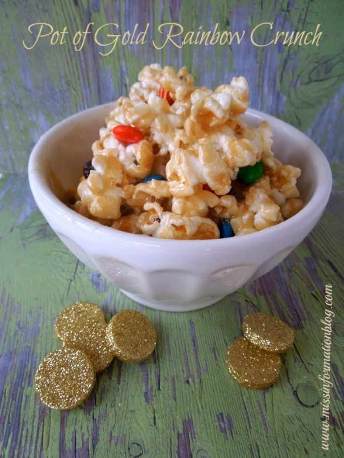 Marshmallow Caramel with Sea Salt Popcorn and M&M's the Perfect St Patty's Treat!