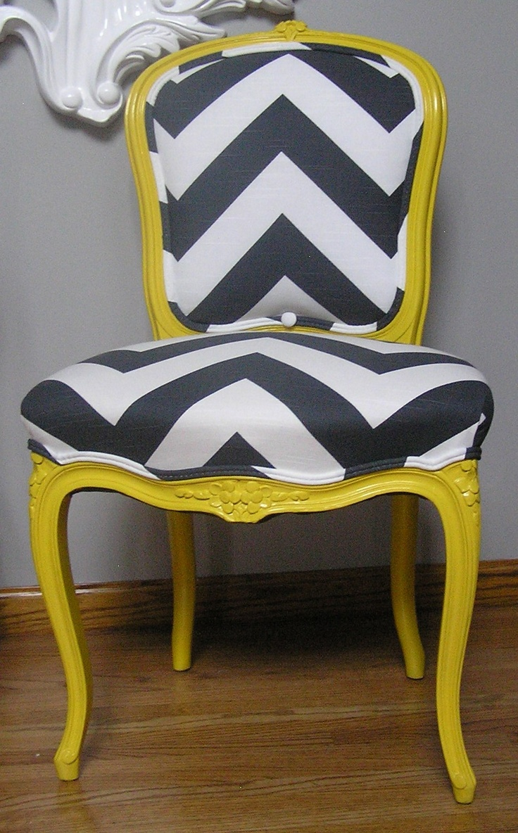 Yellow & Charcoal Chevron French Provincial Side Chair. $585.00, via Etsy.