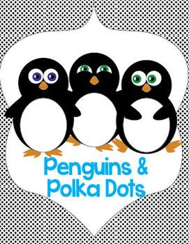 Free Name and Cubby Tags featuring penguins and polka dots.