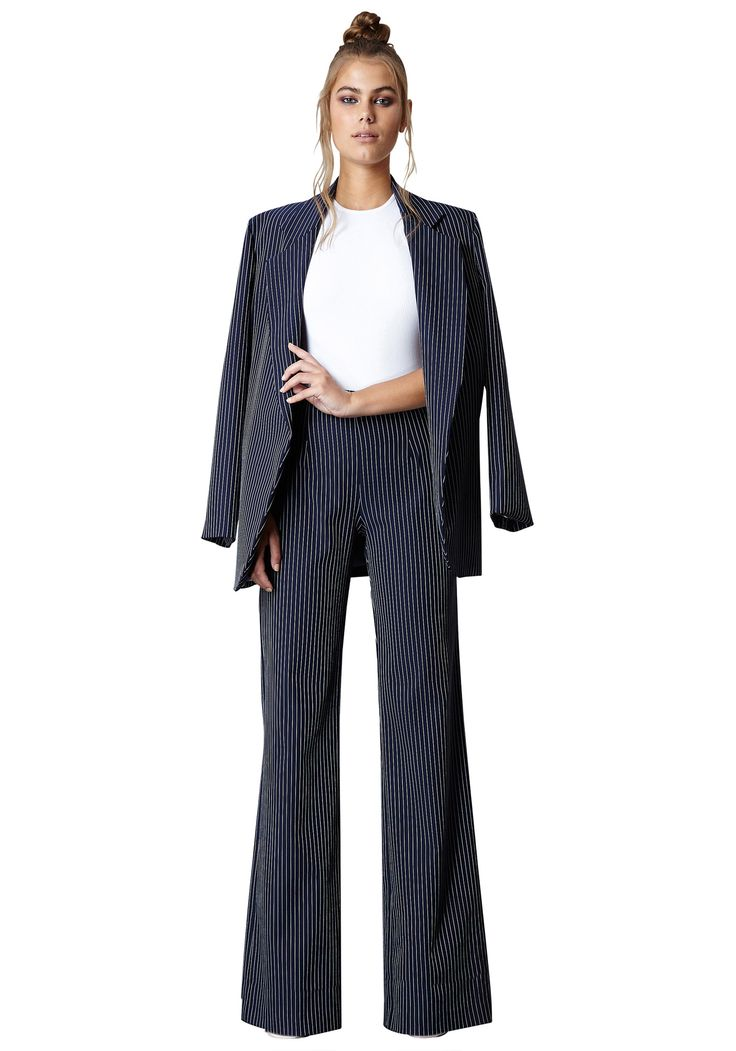 THINSTRIPE BLAZER & WIDE LEG THINSTRIPE PANT |