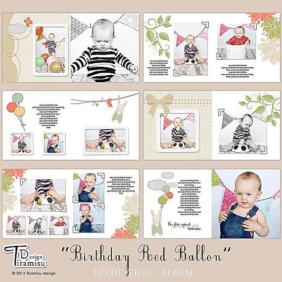 10x10 Whcc Album Templates Birthday Red Balloon By
