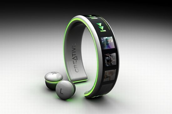 Creative mp3 player bracelet with wireless headphone buds!! Not sure this product