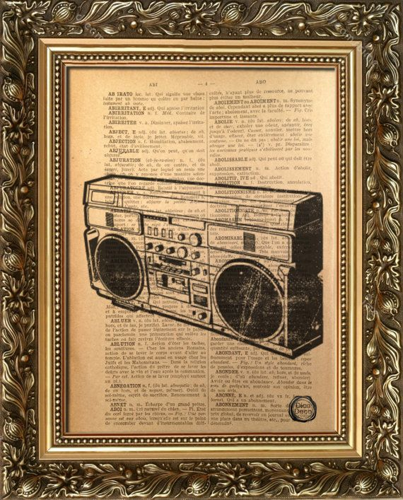"""Cool addition to any home! Unique present!  """"Ghetto"""" is printed in high quality on 1930's French dictionary.. """"Ghetto"""" will be printed on a page similar to the one in this listing, there might be few small differences from the pages - this brings a special uniqueness. The age of the dictionary gives a warm and authentic feel to the print."""