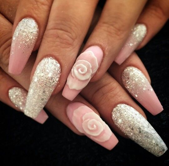 @kimthatnailgirl on IG, pink floral silver glitter rose nails
