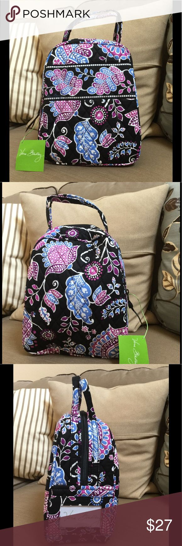 "NWT VERA BRADLEY LUNCH BAG NWT Vera Bradley Lunch Bunch  7 "" W x 9"" H x 4 "" D with 3"" handle drop  Alpine floral Pattern  Outside ID pocket Smoke/pet free home Vera Bradley Bags Cosmetic Bags & Cases"