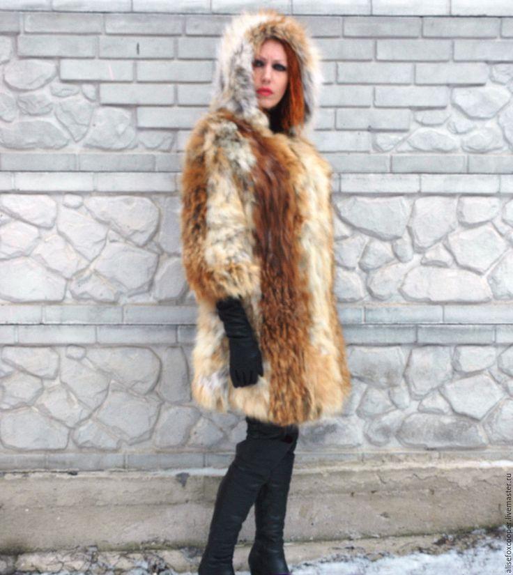 Купить Шубка лиса вязаная с капюшоном - рыжий, лиса, мех, мех натуральный, мех лисы