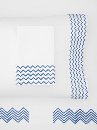 65% OFF Haute Home Embroidered Zig Zag Sheet Set (China Blue)