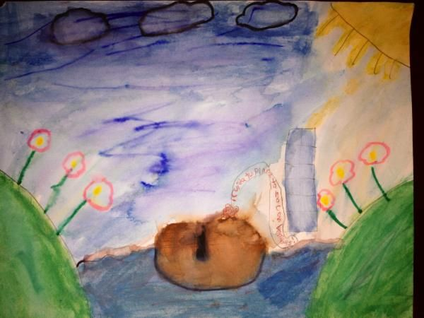 United Nations Art for Peace Contest Artist Statement: Is a river, with green mountains with flowers in a sunny and beautiful day and a kid in a boat singing about taking care of the planet and getting free of nuclear bombs Mexico, age 8