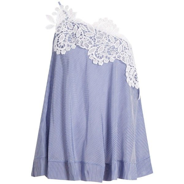 Lila Eugenie 17262 Jesi pinstriped one-shoulder top (762.910 COP) ❤ liked on Polyvore featuring tops, floral print tops, white top, floral tops, off one shoulder tops and lace overlay top