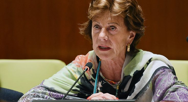 "Neelie Kroes, Vice-President of the European Commission responsible for the Digital Agenda for Europe, speaks at a high level meeting on ""Contributions of North-South, South-South, Triangular Cooperation, and ICT for Development to the Implementation of the Post-2015 Development Agenda"" May 21, 2014 at United Nations headquarters in New York"