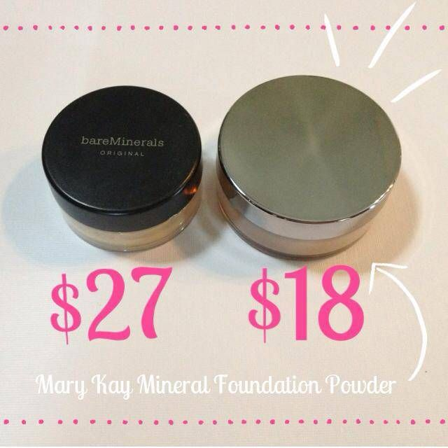 Bare Minerals vs. Mary Kay Mineral Powder Foundation. Don't overspend on Bare Minerals. Mary Kay Mineral Powder Foundation gives you more for your buck and a beautiful, natural coverage. Try it with me today!