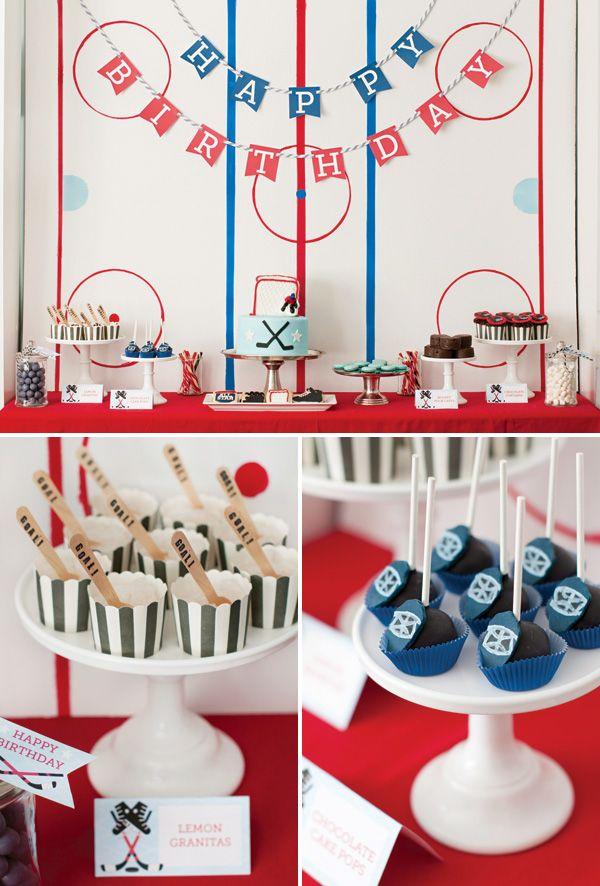 Hockey Rink backdrop made of tape — cute idea for any sports party!