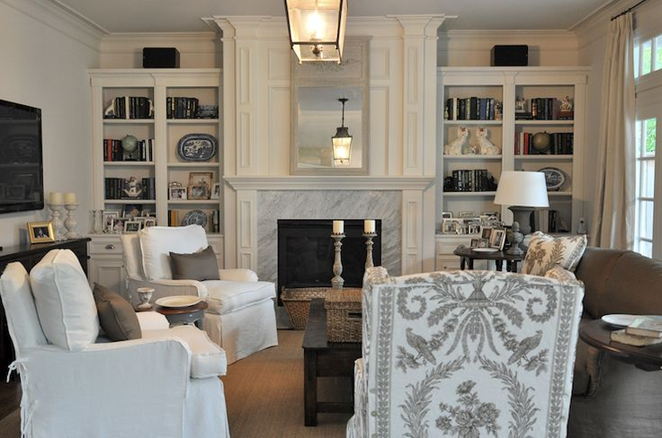 Beautiful Transitional Living Room Amd Dining Room Combination Family Room Built Ins