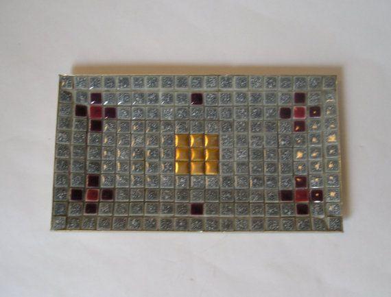 Vintage Mid Century Modern Mosaic Tile Tray Blue by AuntysTeeks, $16.95