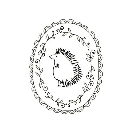 Embroidery pattern of a cute little spiky backed hedgehog, in a viney / wreath / laurel scalloped frame.  This pattern has instructions for transferring the pattern onto your fabric. There are no color recommendations or stitch instructions. Im currently working on making these available. If you purchase a pattern and need help, stitch instructions, color recommendations, etc, send me a convo via Etsy, and Ill do what I can to help. This is a digital file to be downloaded to your computer…