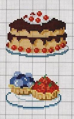 Punto croce - Schemi e Ricami gratuiti: Schemi a punto croce dolci, dolcetti e torte