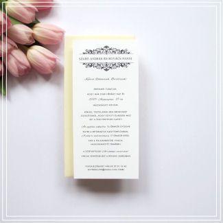 Esküvői meghívó – Hosszú krémszínű