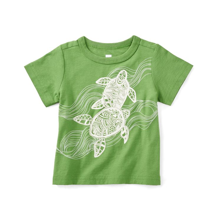 Tea Collection Batik Turtles Graphic Baby Tee