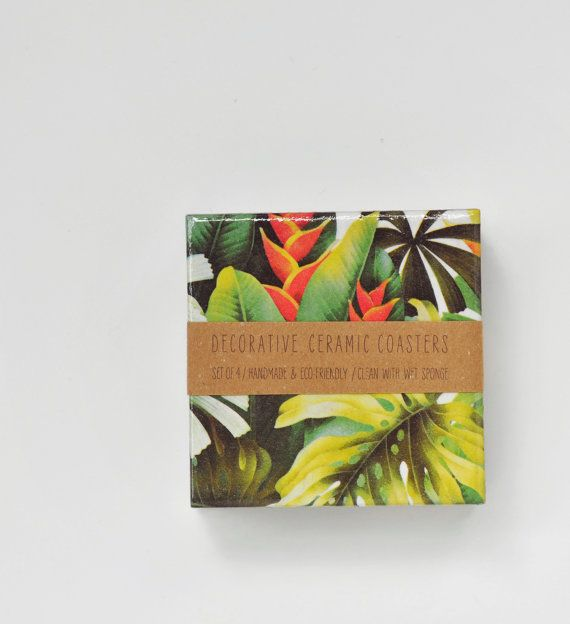 Tropical Coasters Green Jungle Spring Summer Emerald by Tilissimo, $25.00
