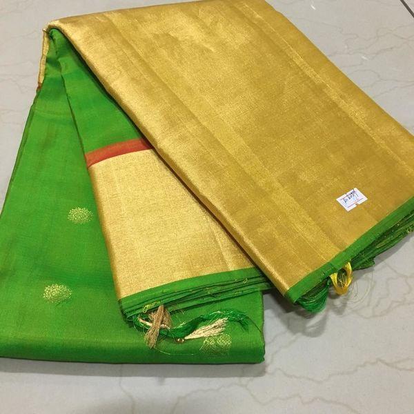 Buy KSS100001-THAMBOORI's Handwoven Kanchivaram Silk-Long border-Green with rustic orange beauty, 850g online - Handwoven Kanchivarams,Soft Silks, Silk Cottons and Tussars!