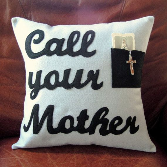 Catholic Gifts Call Your Mother Rosary Holder Pillow Cover with Pocket for Prayer Cards, Beads, Photos; Black Letters on Gray