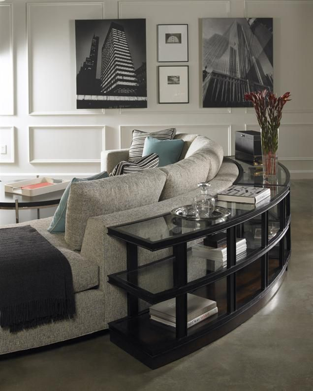 Love the round sofa table from Vanguard furniture
