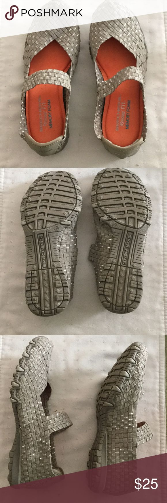 Sketchers Memory Foam Shoes, SZ 8, Grey/Silver Sketchers, relaxed fit, memory foam shoes in excellent condition. Very comfortable. Elastic band across top is not adjustable. Worn only a couple of times. Gray with silver accents. 8M Sketchers Shoes Sneakers