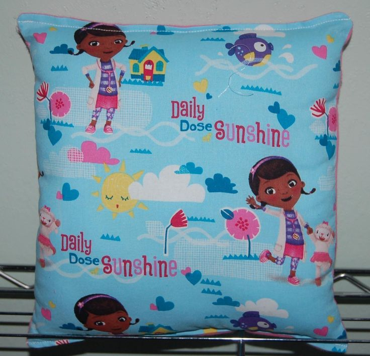 """Doc Mcstuffin Pillow HANDMADE (New) Mcstuffin doc Mc Stuffins Pillow Handmade in USA Pillow is approximately 10"""" X 11"""" Dr Stuffins. HE PILLOW WOULD MAKE GREAT GIFT FOR BIRTHDAYS,HOLIDAYS, NAP TIME, CAR RIDES, HOSPITAL STAYS, DAY CARES & MORE. ~BRAND NEW~ ~HANDMADE~ Mcstuffin This Cuddly Cotton / Flannel Pillow is approximately 10"""" X 11"""" Also perfect for nap time, car seat, traveling, stroller rides, kids & teens rooms It is stuffed with 100% Hypo-Allergenic Premium Polyester Fiber-Filled…"""