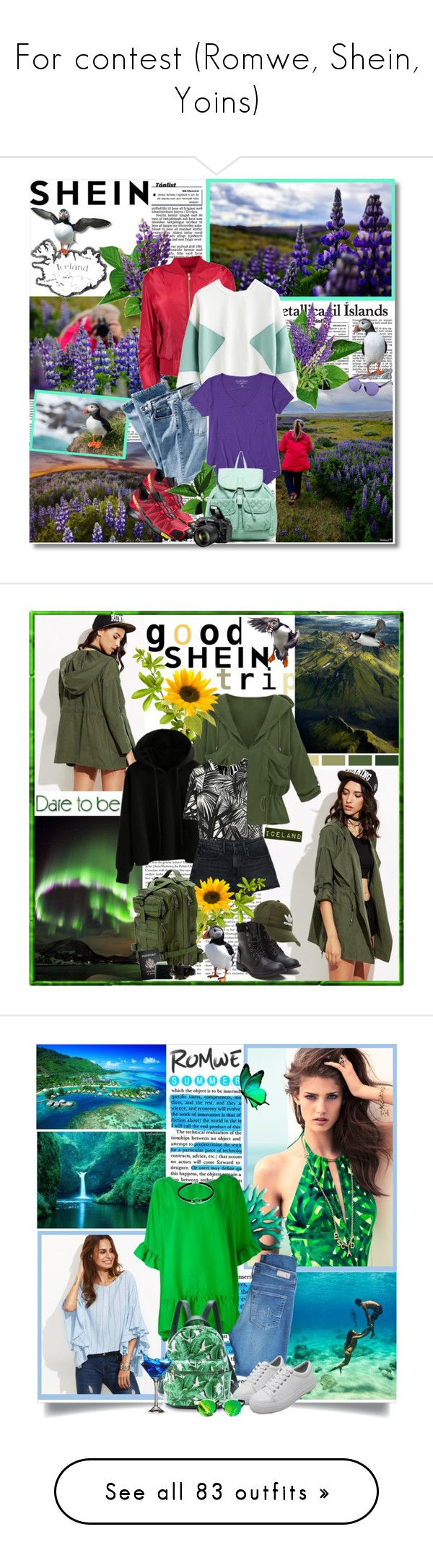 """For contest (Romwe, Shein, Yoins)"" by reka97 ❤ liked on Polyvore featuring Boohoo, Hollister Co., Salomon, T-shirt & Jeans, Nikon, adidas Originals, Elizabeth and James, Alexander Wang, Passport and ESCADA"