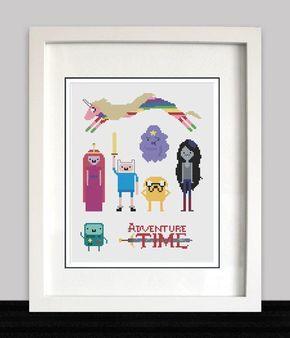 Adventure Time 8 Bit Cross Stitch Pattern - Finn, Jake, Princess Bubblegum, Marceline, BMO, Rainicorn