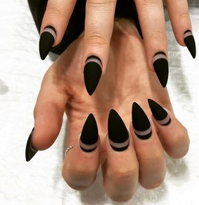 Pointed Negative Space Matte Nails | Stunning Homecoming Dance Nail Ideas