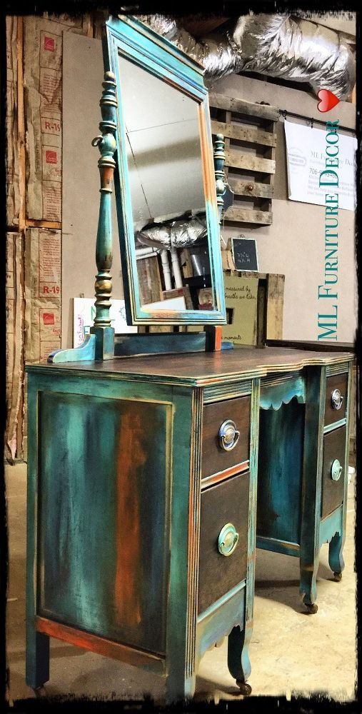 "Antique Vanity Refinishing.. ""different shades of blues, including turquoise, teal, aqua and dark blue.. And for a contrast color .. Orange!"" @ ML Furniture Decor, Bravo!! Truly unique and stunning!"