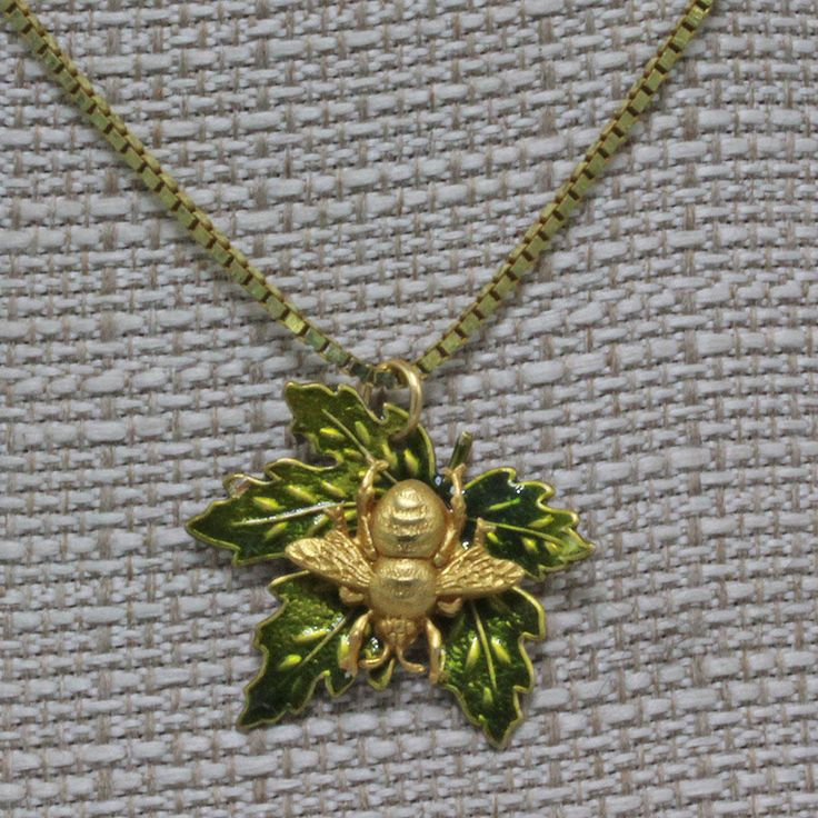 Handmade Bumble Bee On A Hand Painted Brass Leaf Pendant 24 inch Gold Colored Box Chain 1 inch height. by oscarcrow on Etsy