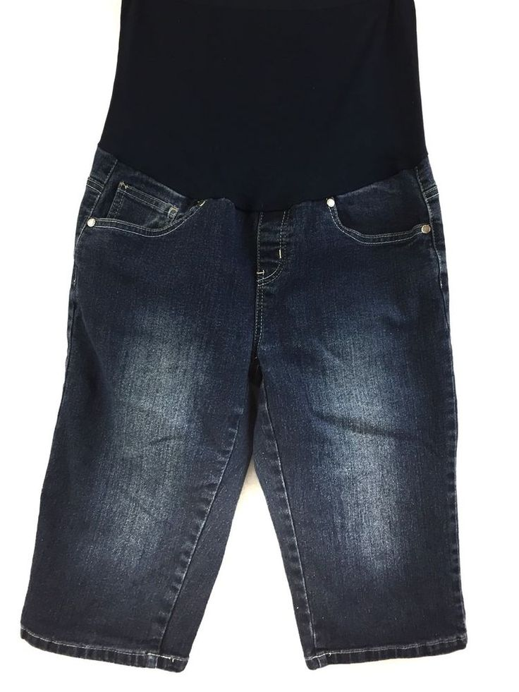 Bella Vida Maternity Size L Full Belly Panel Bermuda Jean Shorts Flip Pocket #BellaVidaMaternity #BermudaWalking