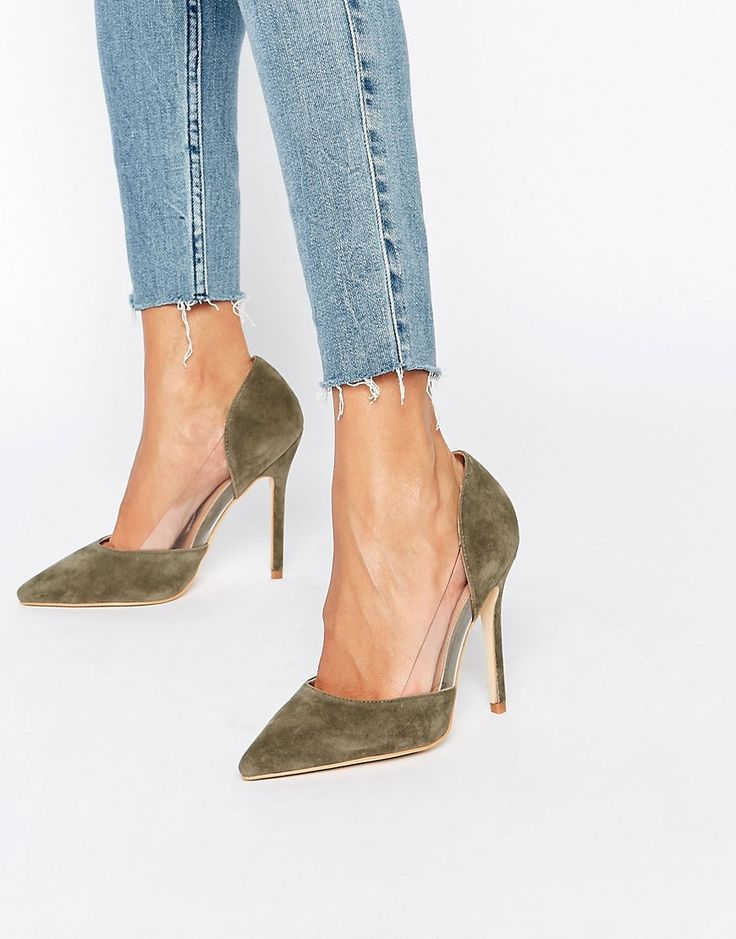 Public Desire Keely Clear Detail Khaki Court Shoes