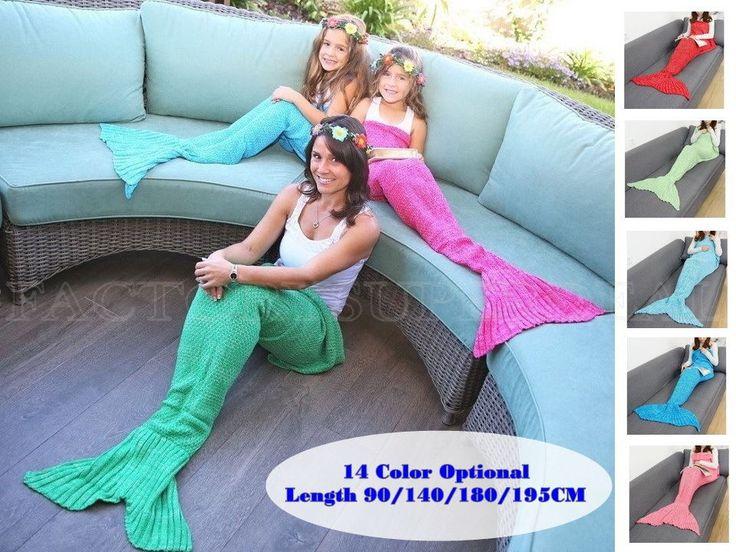 Mermaid Fish Tail Crocheted Sofa Knit Blanket Soft Adult Kid Sleep Bag Bed Yarn #Handmade #Mediterranean