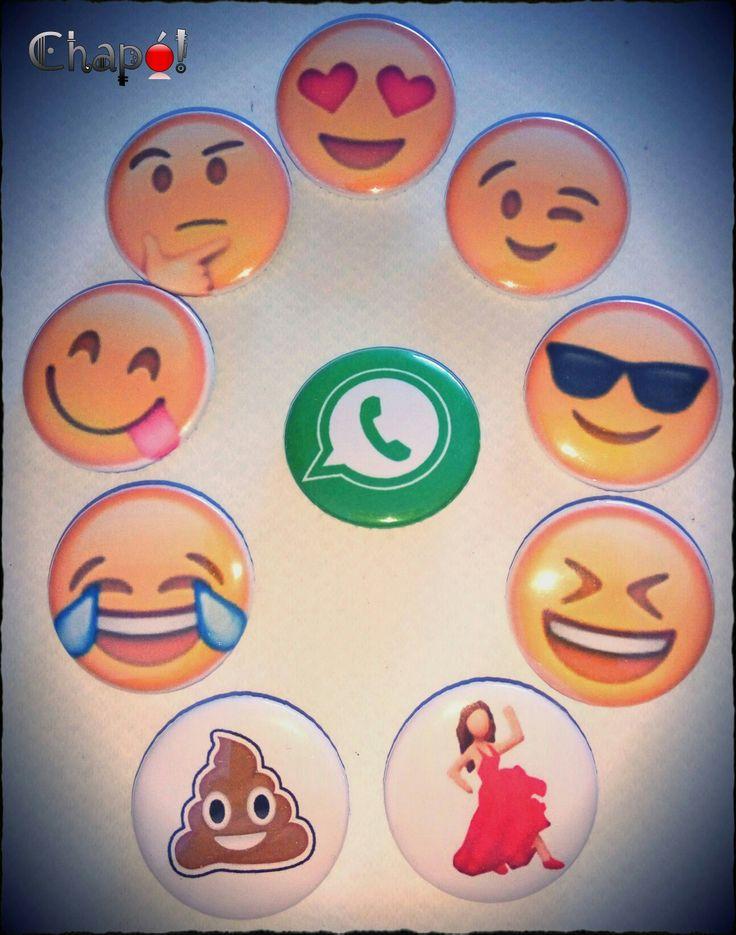 Lote de chapas de iconos de whatsapp. #chapaspersonalizadas #Chapó #whatsapp