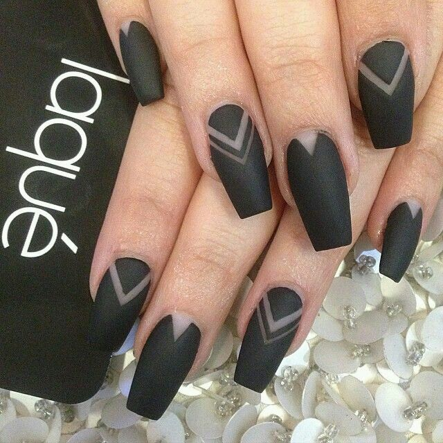 25 unique matte black nails ideas on pinterest mat nail polish matte black coffin nails with negative space design prinsesfo Image collections