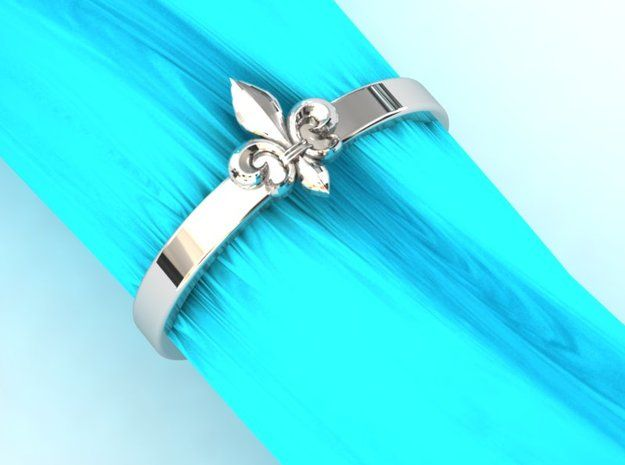 Fleur de lis ring 6 US size (16.5 mm) in Polished Silver